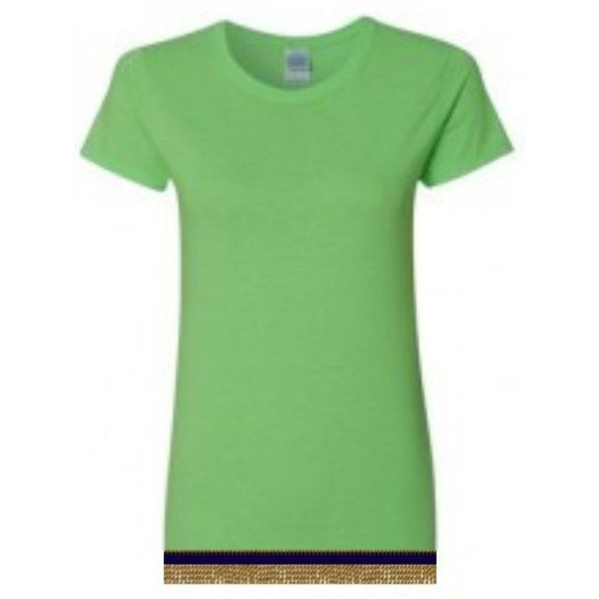 Short Sleeve Women's Neon Green T-shirt With Fringes