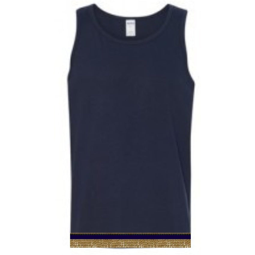Adult Navy Blue Sleeveless Top With Fringes