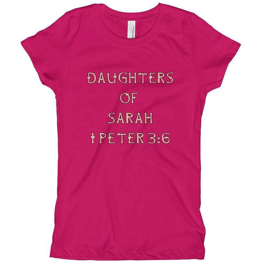 Youth Girls Israelite Daughters Of Sarah Short Sleeve T-shirt With Pink Fringes