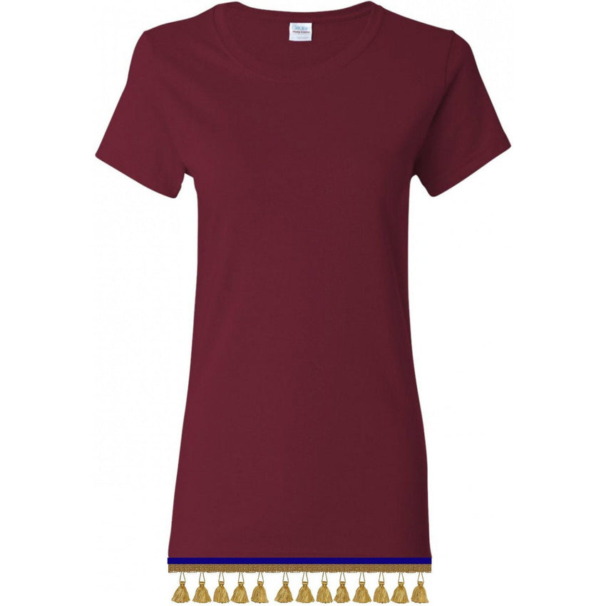 Women's Burgundy Short Sleeve Shirt With TASSEL Fringes