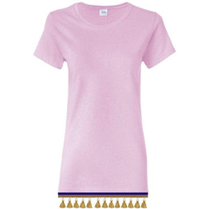 Women's Light Pink Short Sleeve Shirt With TASSEL Fringes