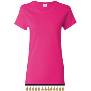 Women's Hot Pink Short Sleeve Shirt With TASSEL Fringes