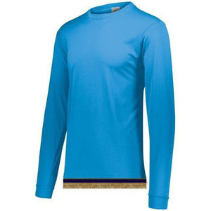 Aqua Blue Performance Long Sleeve T-shirt With Fringes