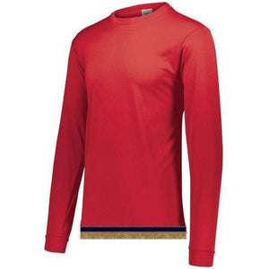 Red Performance Long Sleeve T-shirt With Fringes