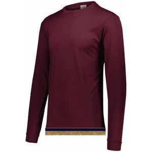 Burgundy Performance Long Sleeve T-shirt With Fringes