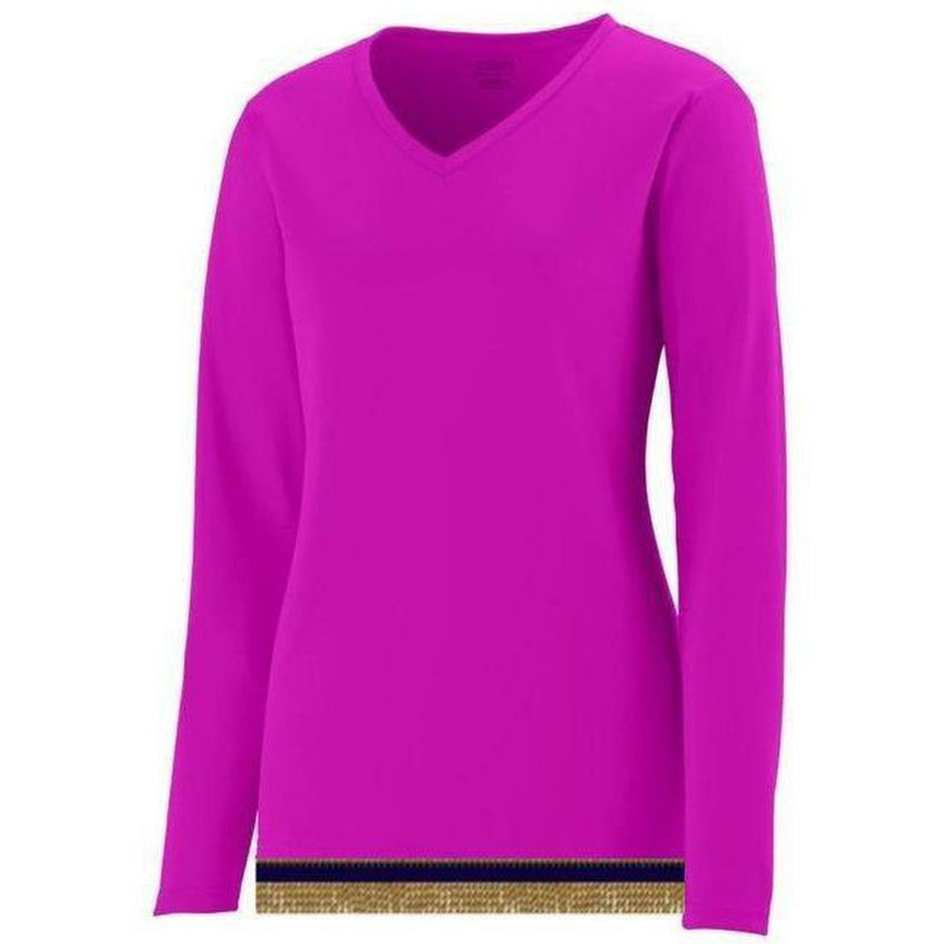 Women's Performance Pink Long Sleeve T-shirt With Fringes