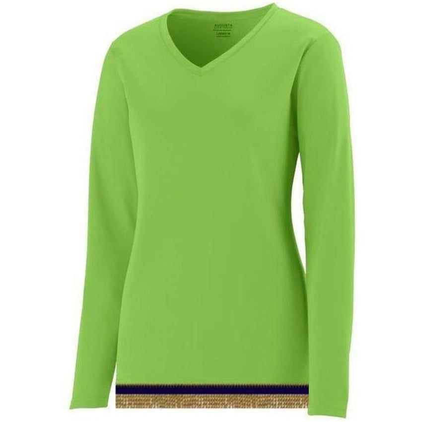 Women's Performance Lime Long Sleeve T-shirt With Fringes