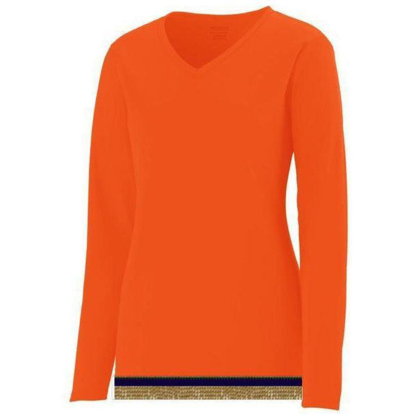 Women's Performance Orange Long Sleeve T-shirt With Fringes