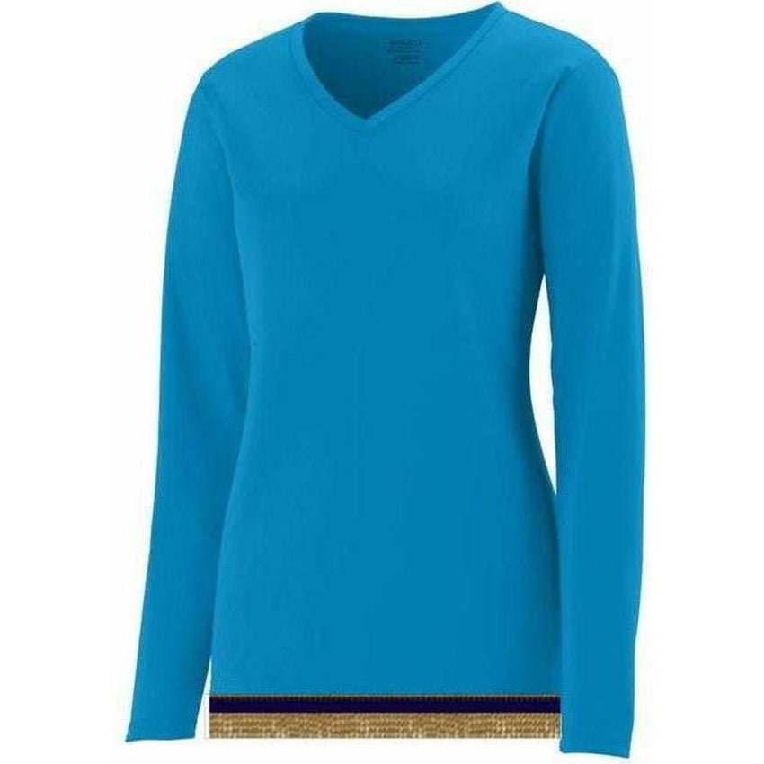 Women's Performance Aqua Blue Long Sleeve T-shirt With Fringes