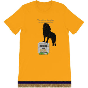 Israelite As Bold As A Lion Short Sleeve T-Shirt With Gold Fringes