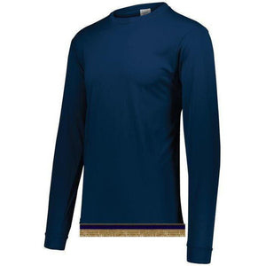 Navy Blue Performance Long Sleeve T-shirt With Fringes