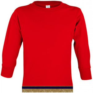 Long Sleeve Toddler Boys & Girls Red T-shirt With Fringes