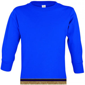 Long Sleeve Toddler Boys & Girls Royal Blue T-shirt With Fringes