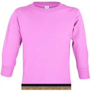 Long Sleeve Toddler Girls Pink T-shirt With Fringes