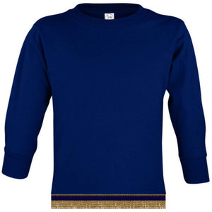 Toddler Boys & Girls Navy Blue Long Sleeve T-shirt With Fringes