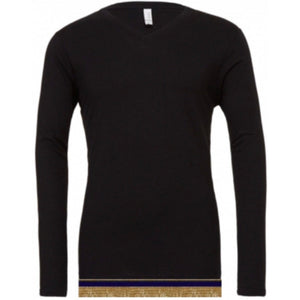 Adult V-Neck Black Long Sleeve T-shirt With Fringes