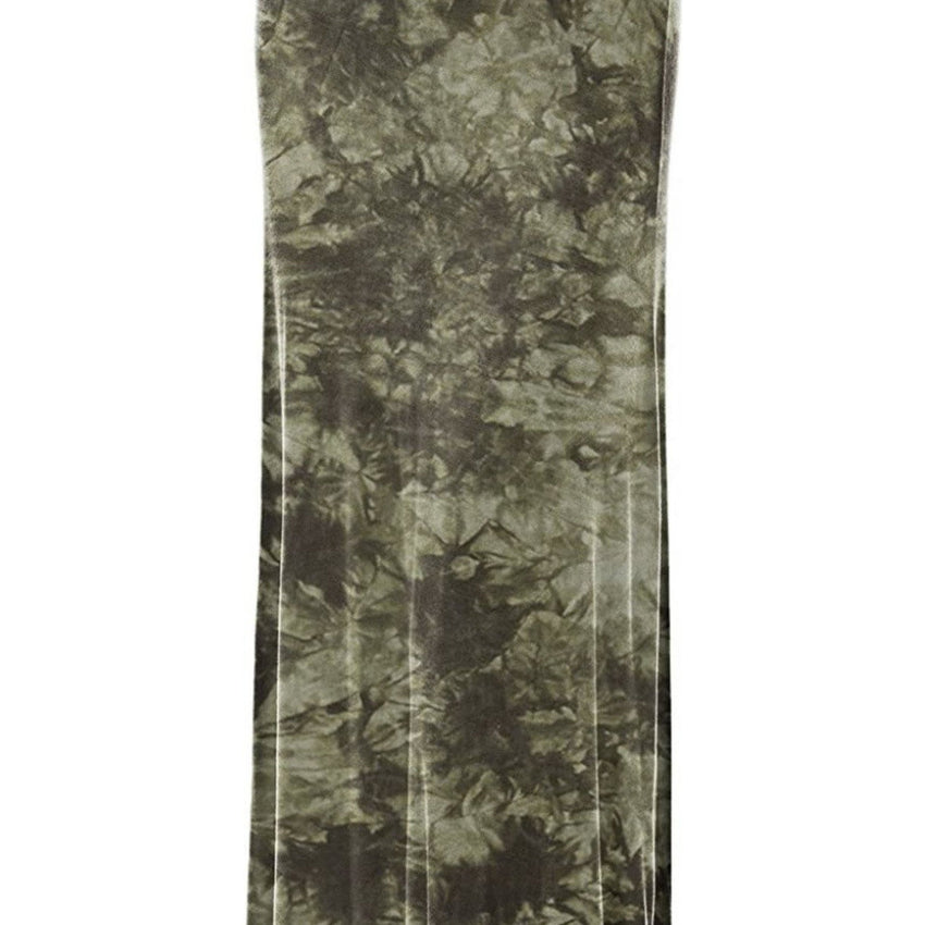 Women's Tie Dye Long Army Green Skirt With Fringes