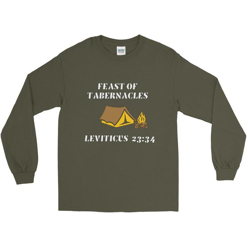 Long Sleeve Israelite Feast Of Tabernacles T-Shirt With Gold Fringes