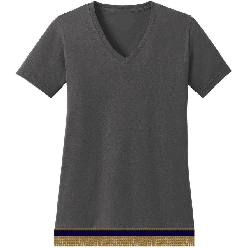 V-Neck Short Sleeve Women's Charcoal T-shirt With Fringes