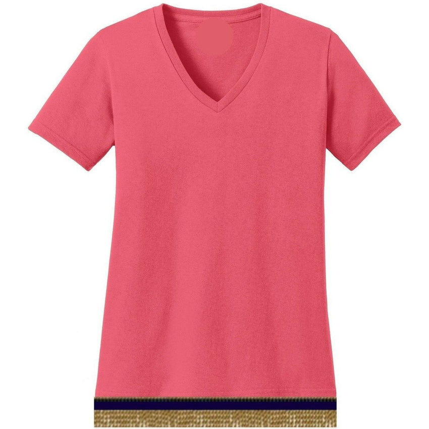 V-Neck Short Sleeve Women's Coral T-shirt With Fringes