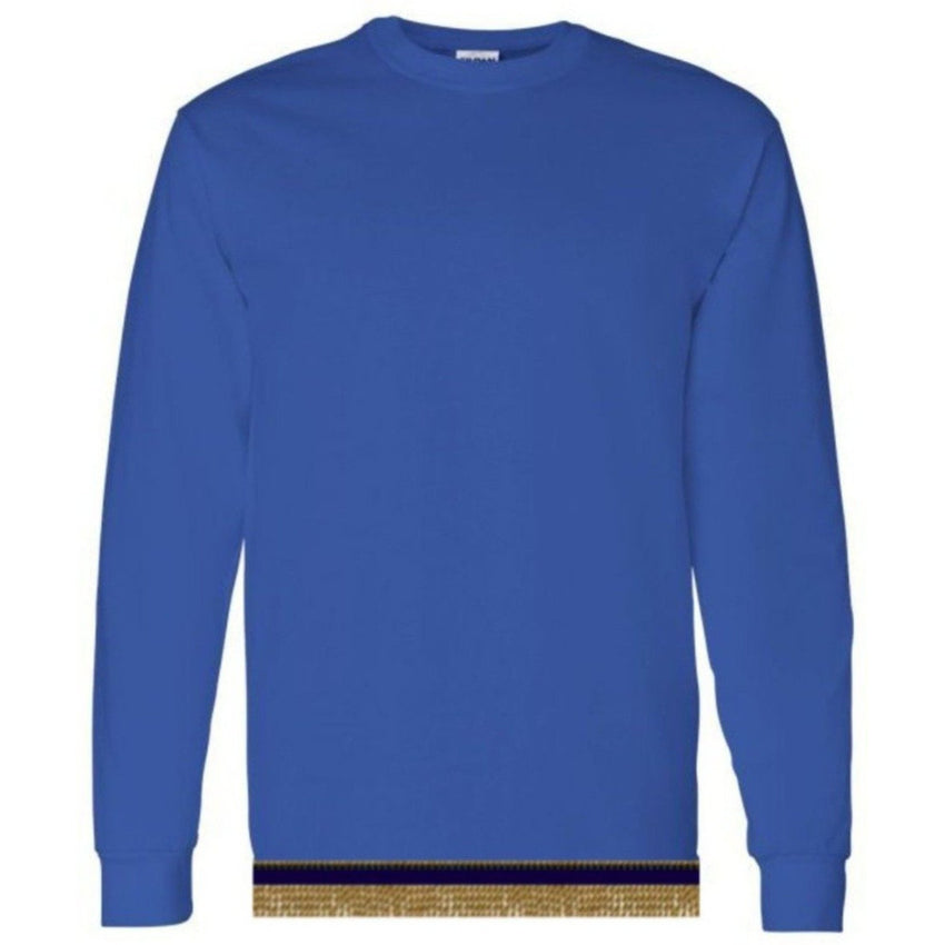 Long Sleeve Adult Royal Blue T-shirt With Fringes