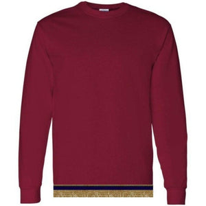 Long Sleeve Adult Burgundy T-shirt With Fringes