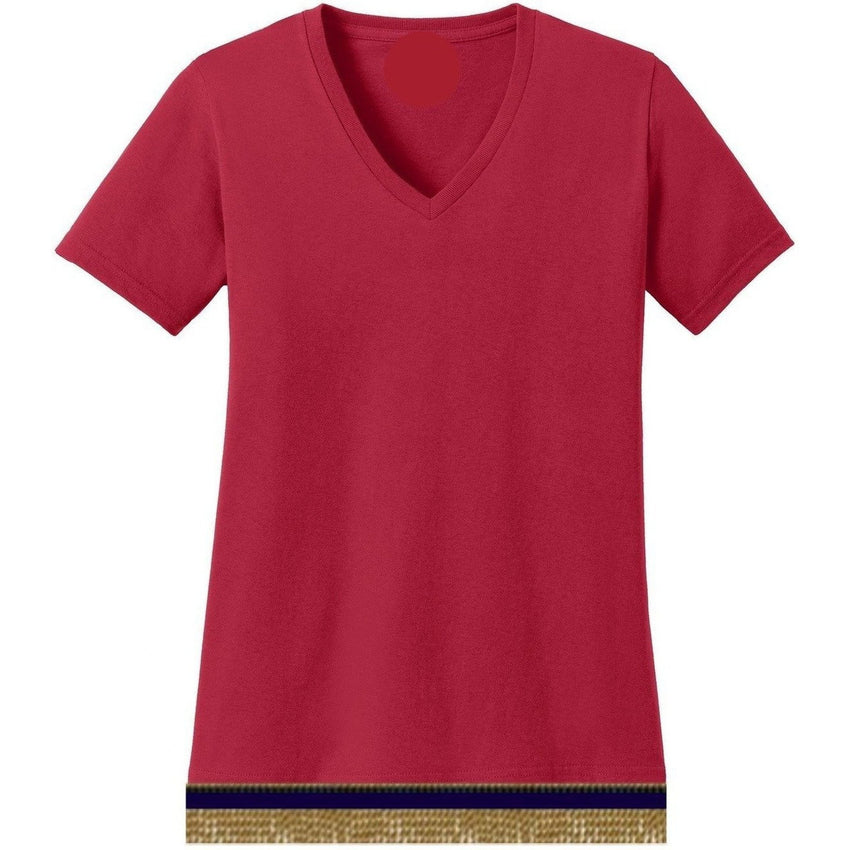 V-Neck Short Sleeve Women's Cherry Red T-shirt With Fringes