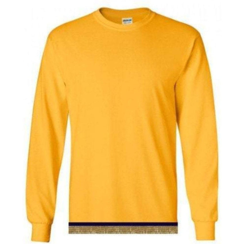 Long Sleeve Adult Yellow Gold T-shirt With Fringes