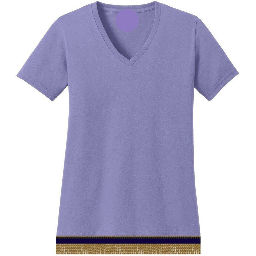 V-Neck Short Sleeve Women's Lilac Purple T-shirt With Fringes