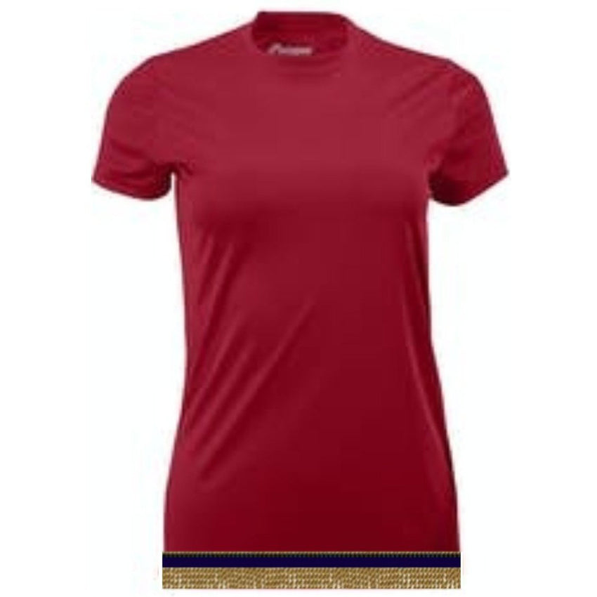 Women's Cherry Red Performance Shirt With Fringes