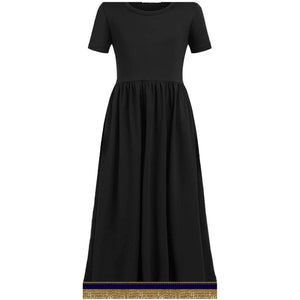 Youth Girls Short Sleeve Black Dress With Fringes