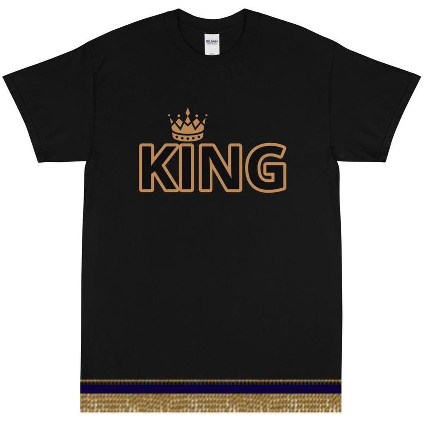 Israelite King Crown Short Sleeve T-shirt With Gold Fringes