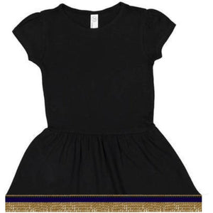 Infant Baby Girls Short Sleeve Black Dress With Fringes