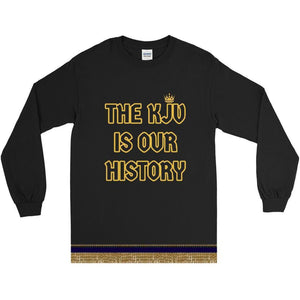 Long Sleeve Israelite The Bible Is Our History T-shirt With Gold Fringes