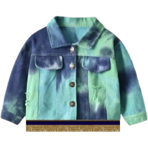 Infant & Toddler Distressed Green Tie Dye Jacket With Gold Fringes