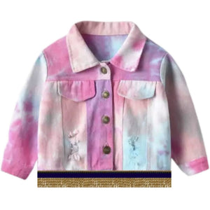 Infant & Toddler Distressed Hot Pink Tie Dye Jacket With Gold Fringes