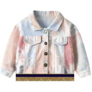 Infant & Toddler Distressed Light Pink Tie Dye Jacket With Gold Fringes