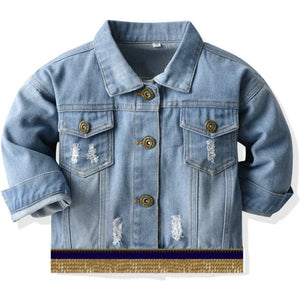 Infant & Toddler Distressed Denim Jacket With Gold Fringes