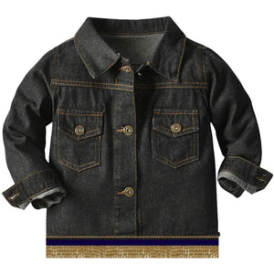 Infant & Toddler Distressed  Black Denim Jacket With Gold Fringes