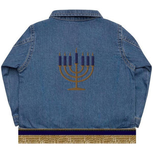 Infant & Toddler Denim Organic Embroidered Menorah Jacket With Gold Fringes