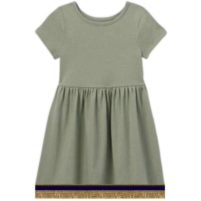 Toddler Girls Short Sleeve Army Green Dress With Fringes