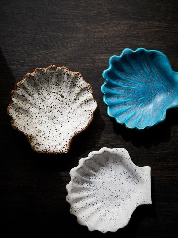 Grey Speckle Ceramic Seashell Dish-Ceramics-Kaz Ceramics-Greenhouse Interiors