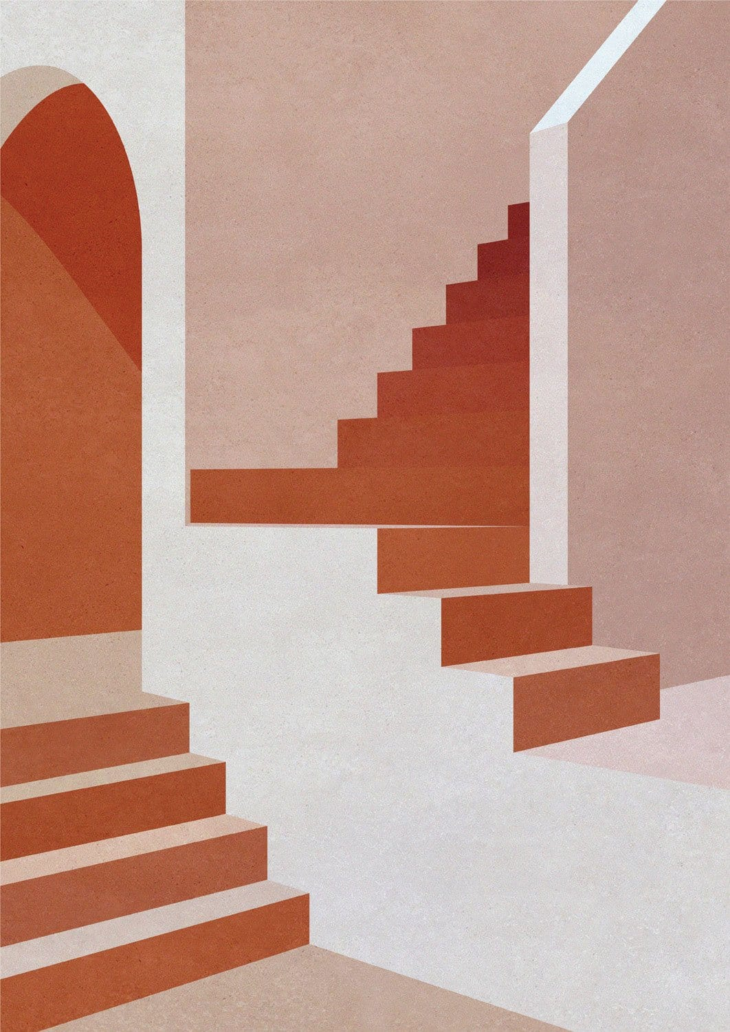 Staircase in Pink - Limited Edition Print-Prints-Charlotte Taylor-Greenhouse Interiors