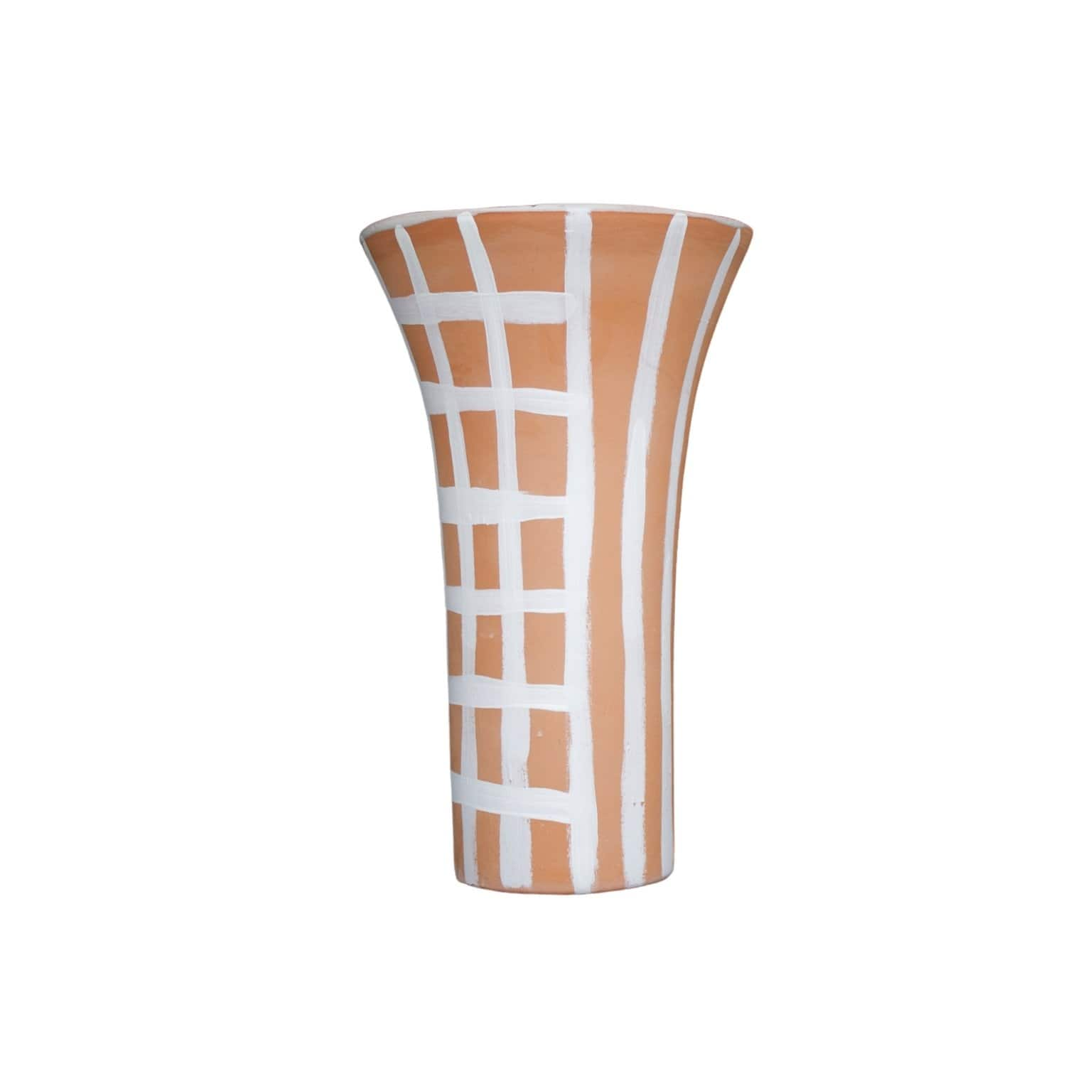 Terracotta Check And Lines Vase-Ceramics-Kaz Ceramics-Greenhouse Interiors