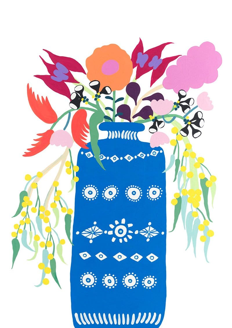 Arrangement I (Blue Vase With Florals) Print-Prints-Madeleine Stamer-Greenhouse Interiors