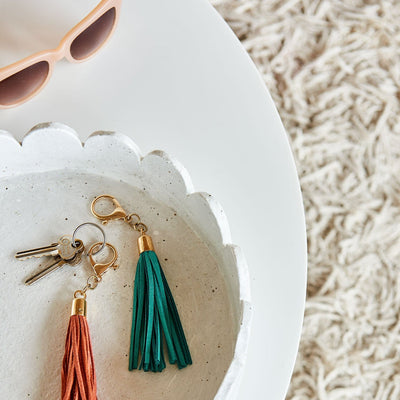 Leather Tassle Keyring - Green