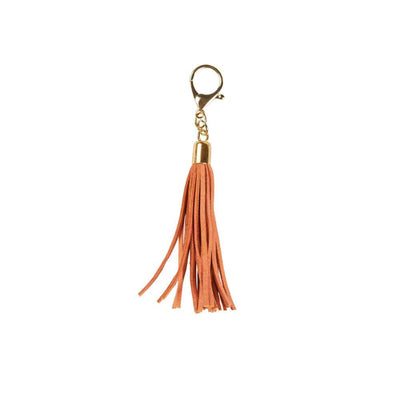 Leather Tassle Keyring - Tobacco