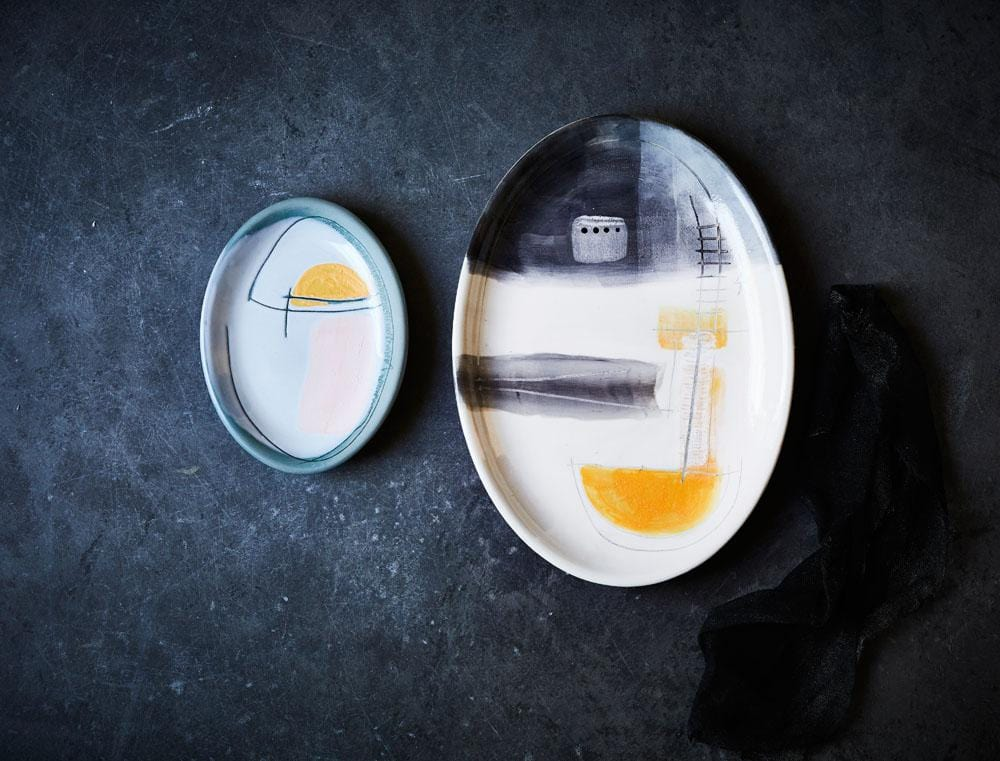 Large Art Series Plate - Grey & Yellow by Kaz Ceramics | Shop Ceramics | Greenhouse Interiors