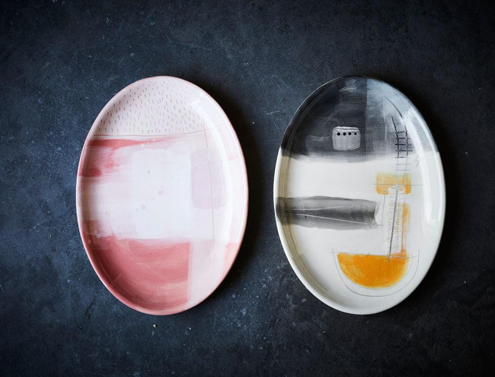 Large Art Series Plate - Pink by Karen Morton | Shop Ceramics | Greenhouse Interiors