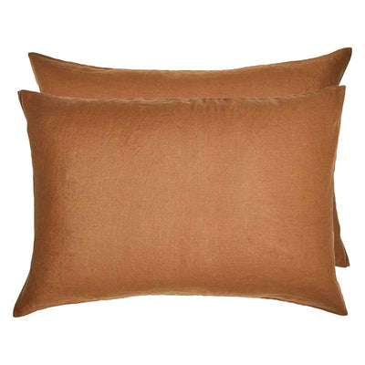 Linen Standard Pillowcase Set - Tobacco